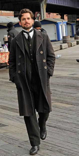 "Matt Bomer on location in New York City filming ""Winter's Tale."""