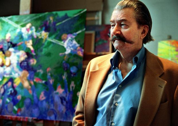 "Sports artist LeRoy Neiman, who was a familiar presence at Super Bowl games and the Olympics, died in June at 91. His colorful artistry reached millions of people through his work creating live drawings of the Olympics for television and as an artist of the Super Bowl on CBS.<br><a href=""http://www.latimes.com/entertainment/arts/culture/la-et-cm-leroy-neiman-artist-dies-olympics-20120620,0,2950830.story"" target=""blank""><b>MORE:</b> Sports artist LeRoy Neiman, who worked on 5 Olympics, dies at 91</a>"