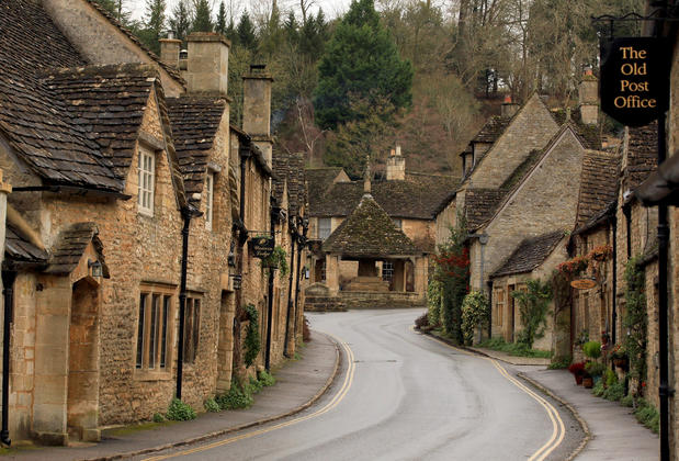 A road near Castle Combe's center.