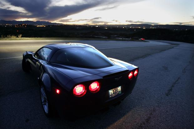 The 2006 Corvette Z06, shown on Woolsey Canyon Road in Chatsworth, had a top speed of 198 mph on the test track.