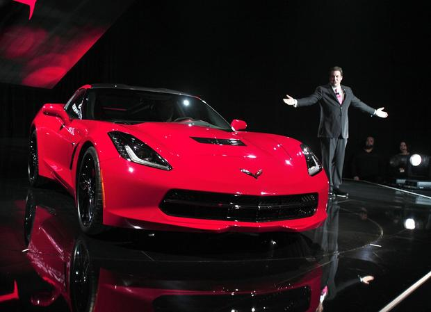 Mark Reuss, General Motors' North American president, shows off the seventh-generation Chevrolet Corvette to the media at the Russell Industrial Center in Detroit.