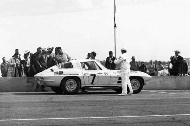 A Chevrolet Corvette Sting Ray is in the pits at Daytona International Speedway.