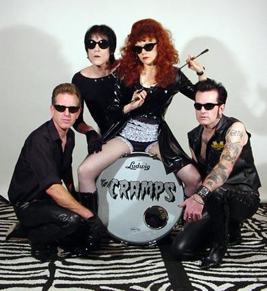 The Cramps' Buster Bateman, left, Lux Interior, Poison Ivy and Chopper Franklin