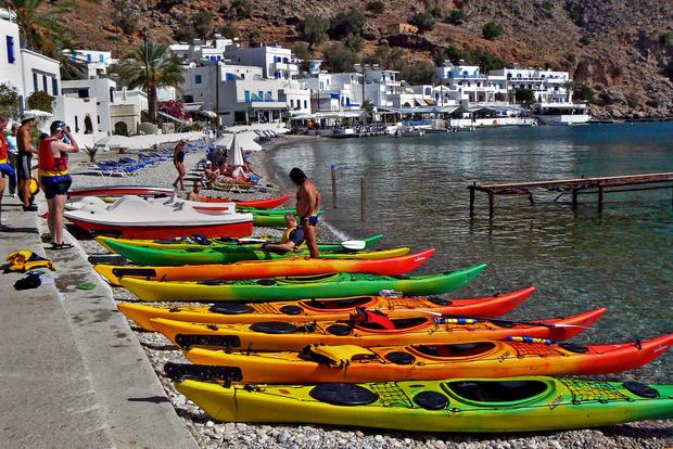 "Paddling around Greece's largest island rewards aching arms and torso with bath-water warm seas, pristine beaches and a lesson in the region's ancient roots.<br /><br /> Read more: <a href=""/travel/la-tr-crete-20100704,4313243,6971829.story"">Kayaking around Crete</a>"