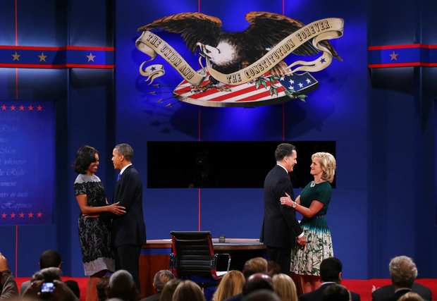 First Lady Michelle Obama and Ann Romney join President Obama and Mitt Romney onstage after the debate.