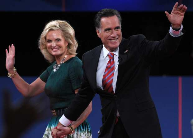 Ann Romney joins her husband, Mitt, onstage after the debate.