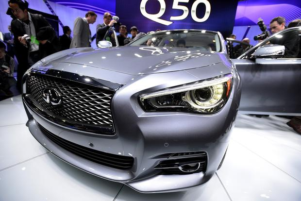 The Nissan Infiniti Q50 sedan is displayed after being unveiled during the 2013 North American International Auto Show.