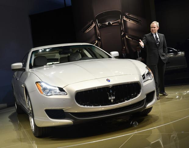 Maserati CEO Harald J. Wester introduces the new Maserati Quattroporte sedan during the media preview at the North American International Auto Show.