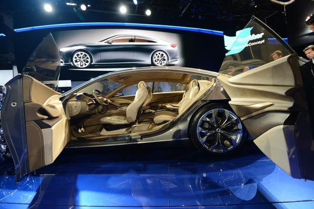 The Hyundai HCD-14 concept car is introduced at the 2013 North American International Auto Show.