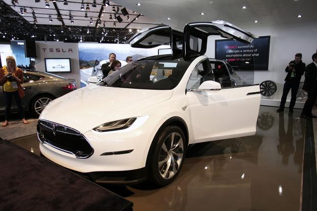 The Tesla Model X is on display.