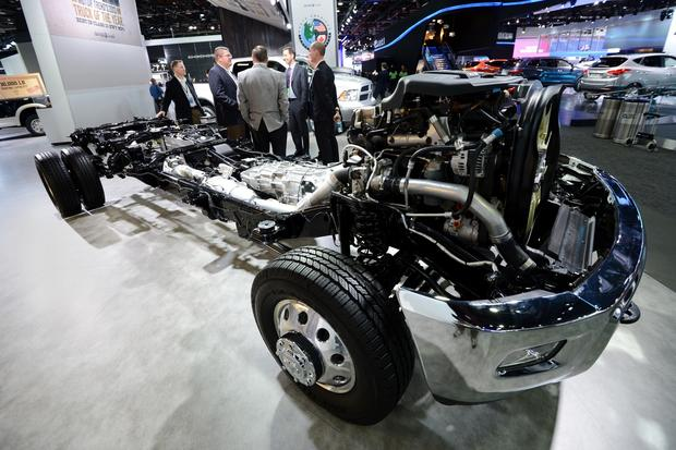 A Dodge Ram 1500 truck chassis on display.