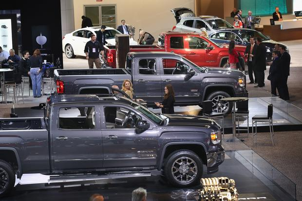 GMC trucks on display.