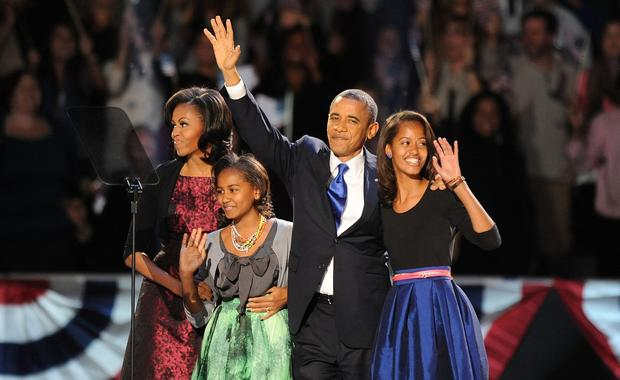 President Obama and the first family take the stage.