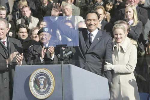 When you build a show around the workings of a presidential administration, the Constitution neatly provides the series with an expiration date. The Bartlett Administration came to an end when Jimmy Smits' Matt Santos was sworn in, and even show creator Aaron Sorkin was spotted among the crowd in DC.