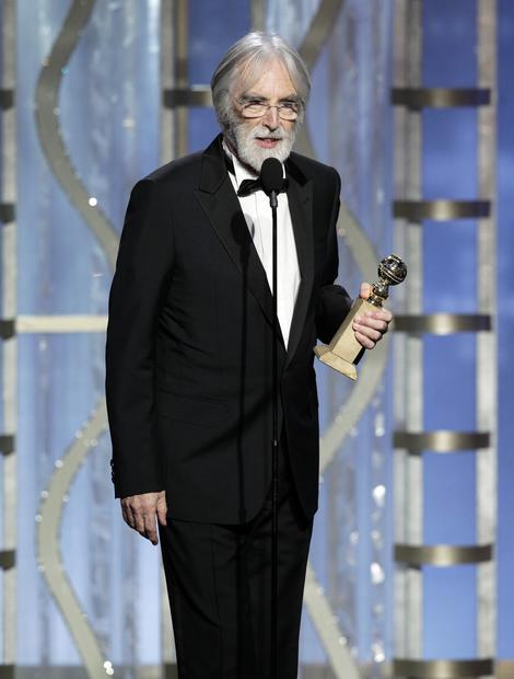 "Director Michael Haneke accepts the foreign film Golden Globe for ""Amour."""