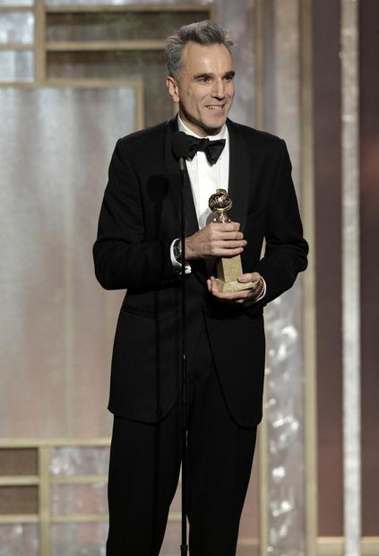 "Daniel Day-Lewis accepts the Golden Globe for actor in a drama for his title role in ""Lincoln."" Day-Lewis praised director Steven Spielberg as ""a humble master with a quicksilver imagination"" and as ""a friend, loving and kind.""<br><br>