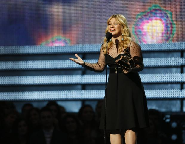 Kelly Clarkson at the Grammy Awards.