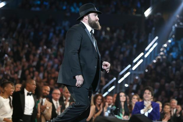 "Singer Zac Brown walks onstage to accept the country album Grammy for Zac Brown Band's ""Uncaged.""<br><br>