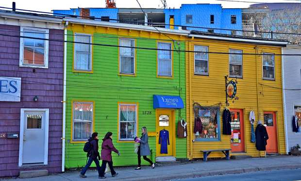 Queen Street in downtown Halifax includes several colorful businesses.