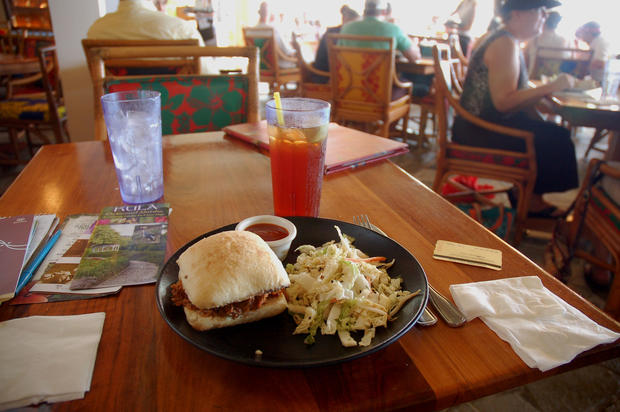 On Maui, the Hula Grill restaurant faces the beach from the upscale Whalers Village mall in the Kaanapali area.