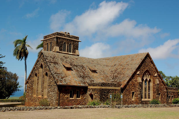 The old stone Makawao Union Church stands along Baldwin Avenue, uphill from Paia, downhill from Makawao.