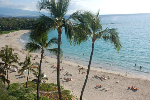 Seen here from an upper floor at the Mauna Kea Beach Hotel, Kauna'oa Beach is one of the most popular on the island.