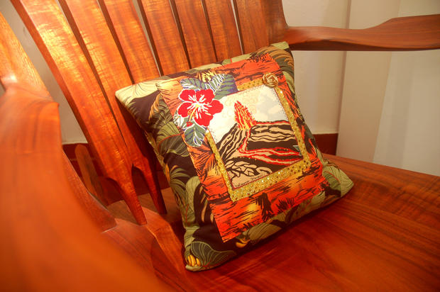 In the gift shop of Hawaii Volcanoes National Park, a fancy pillow shows an eruption in progress.