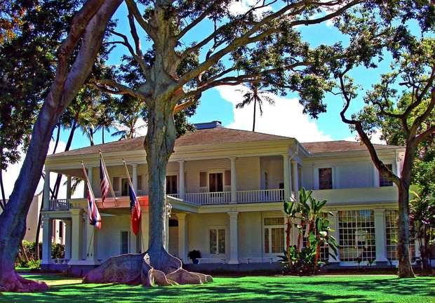 Honolulu's Washington Place, the former home of Queen Liliuokalani. The elegant Greek Revival dwelling was owned by Capt. John Dominis, a seaman, and his wife, Mary. It was completed in 1847, a year after Dominis was said to have been lost at sea.