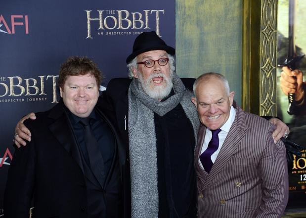 Stephen Hunter, left, John Callen and Mark Hadlow, who play dwarfs Bombur, Oin and Dori, respectively.