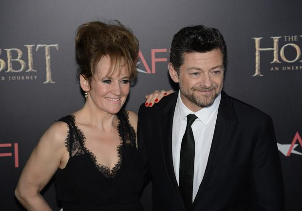 Second unit director and Gollum actor Andy Serkis, right, and Lorraine Ashbourne.