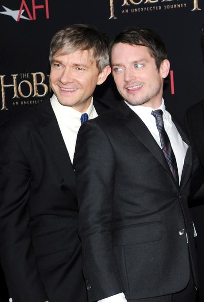 Bilbo Baggins actor Martin Freeman, left, and Frodo Baggins actor Elijah Wood.