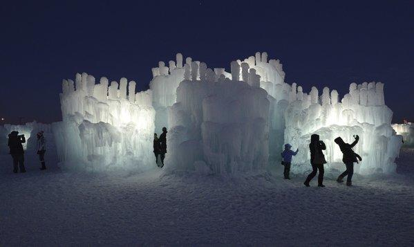 Millions of gallons of water go into creating the icy archways, tunnels, towers and caverns of the Ice Castles.