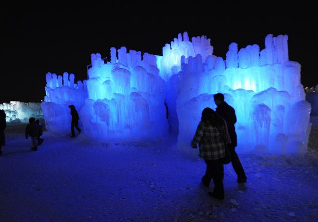 The Ice Castles are made up of about 50 towers joined by tunnels and caverns.