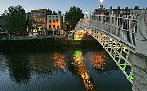 The Ha'penny Bridge, which crosses the Liffey River, was opened in 1816.