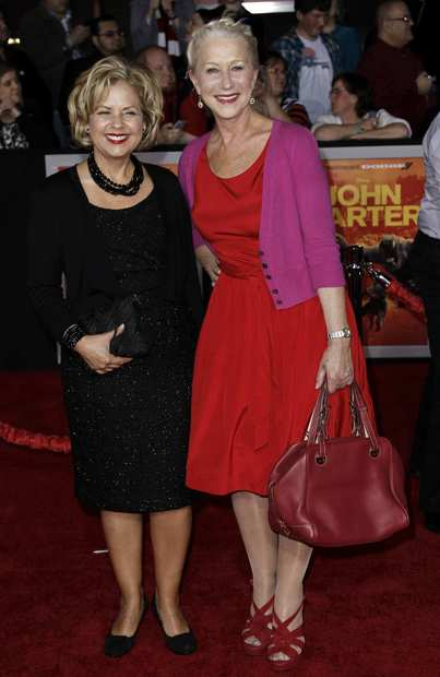 """John Carter"" costume designer Mayes Rubeo with ""The Door"" actress Helen Mirren."