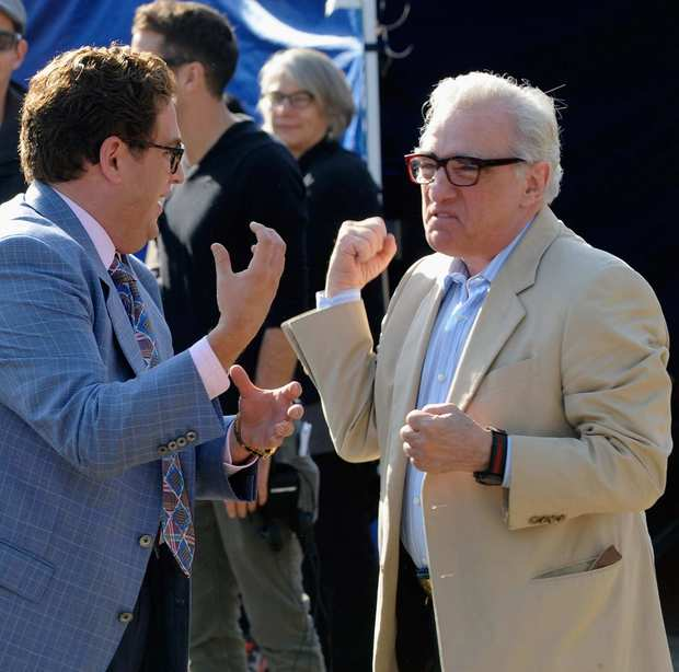 "Actor Jonah Hill and director Martin Scorsese work on a scene for ""The Wolf of Wall Street"" in Emerson, N.J."