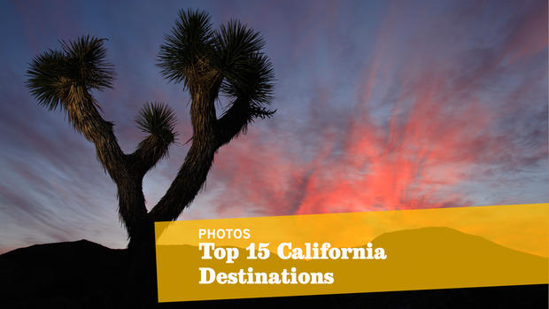 <b>Top places to see in California</b><br> <br> There's no place like home. So explore California like a native. Here's our checklist of not-so-obvious but oh-so-essential sites. But tell us -- are we nuts? Today, with full expectation of howling dissent and snorts of derision, we present the Travel section's first California Golden 15. We, your neighbors, do so as the holiday travel season approaches and as distant strangers  peddle their compendiums of places you should visit before you die. These are 15 places we think you  must visit to grasp the wonder of this state, including Joshua Tree National Park, shown here. This is not California for beginners -- not Disneyland, not Hearst Castle, not the San Diego Zoo, not even Sutter's Mill. This is the California that speaks to the seasoned native and the thoughtful newcomer, the California that waits beyond the well-explored city limits of Los Angeles, San Diego and San Francisco. (Don't get worked up about the numbers; the list of destinations is random, not by ranking.)  -- Christopher Reynolds