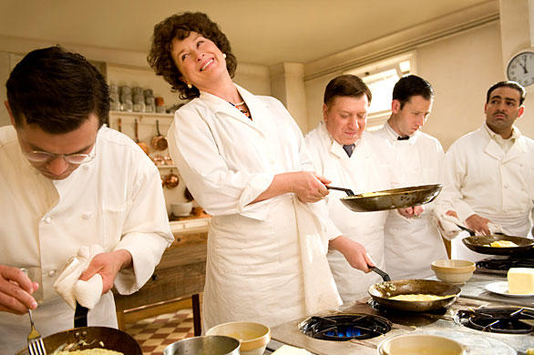 "Meryl Streep's mesmerizing performance in ""Julie & Julia"" had one downside -- walking out of the theater, it was hard to remember what the <i>real</i> Julia Child looked like anymore. That's because Streep was magnificent at channeling the endearingly awkward mannerisms and high-pitched voice of that master chef. So we decided to comb the L.A. Times article and photo archives for Julia Child highlights. And when we did, we were struck once again: No offense, Meryl, but the real Julia Child is absolutely unforgettable. Bon Appetit!<br> <br> <b>RECENT & RELATED</b><br> <br> <a href=""http://www.latimes.com/features/food/la-fo-calcook12-2009aug12,0,7986229.story"">L.A. Times Food Editor Russ Parsons: ""Julie, Julia and me: I tell all""</a><br> <br> <a href=""http://www.latimes.com/entertainment/news/reviews/movies/la-et-julie-julia7-2009aug07,0,1724703.story"">Movie review: 'Julie & Julia' does it right</a><br> <br> <a href=""http://www.latimes.com/business/la-fi-julia11-2009aug11,0,5986607.story"">'Julie & Julia' whets foodies' appetites</a><br> <br> <a href=""http://www.latimes.com/entertainment/news/zap-photogallery-tvmoviechefs,0,6304754.photogallery"">Top TV and movie chefs (and cooks)</a>"