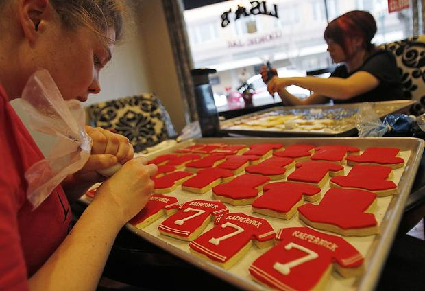 The production of Colin Kaepernick cookies kick into high gear at Lisa's Cookie Jar in Turlock.