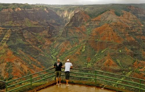 Waimea Canyon on Kauai is sometimes called the Grand Canyon of the Pacific. The canyon is 10 miles long and 3,000 feet deep.