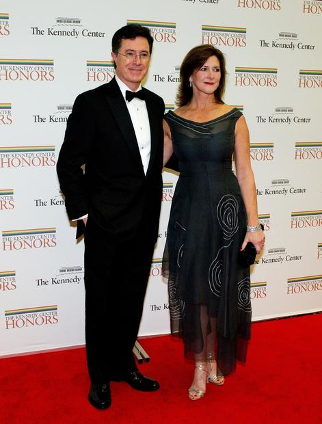 Stephen Colbert and his wife, Evelyn, arrive for a dinner for Kennedy honorees hosted by Secretary of State Hillary Rodham Clinton at the U.S. Department of State in Washington, DC.