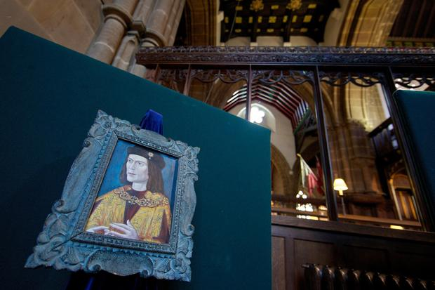 King Richard III is pictured in Leicester Cathedral.
