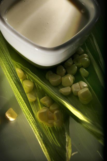 "Chilled corn soup. <a href=""http://www.latimes.com/features/food/la-fo-masterclassrec3-20120714,0,326647.story"">Recipe</a>."