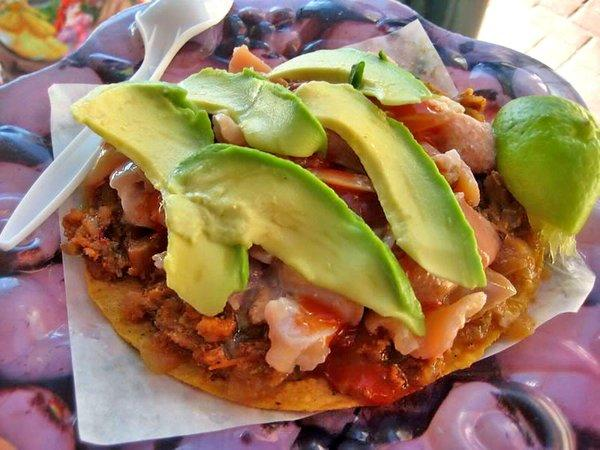 Sea snail tostada from the La Guerrerense cart in Ensenada.