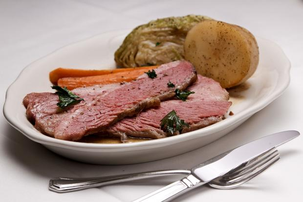 The classic Irish dish, corned beef and cabbage, is enhanced with corned beef that is picked in-house and steamed tender.