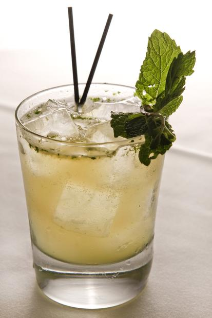 An Irish Maid cocktail is flavored with fresh mint.