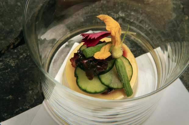 Japanese egg custard tofu, with grilled freshwater eel, cucumbers and a garnish of baby cucumber with its yellow blossom.
