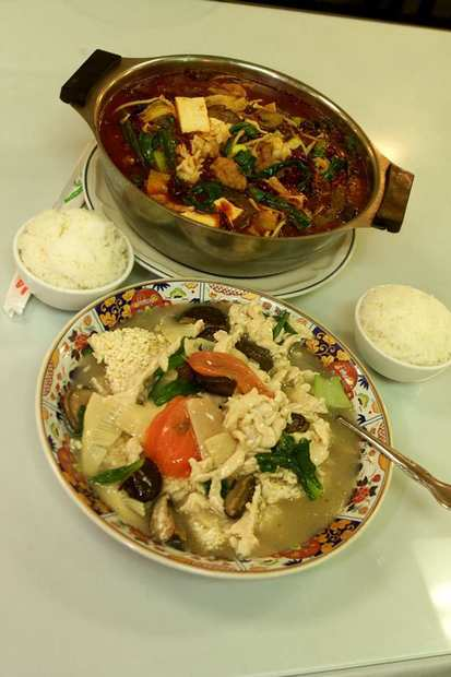 Dishes at Chung King Restaurant in Monterey Park.