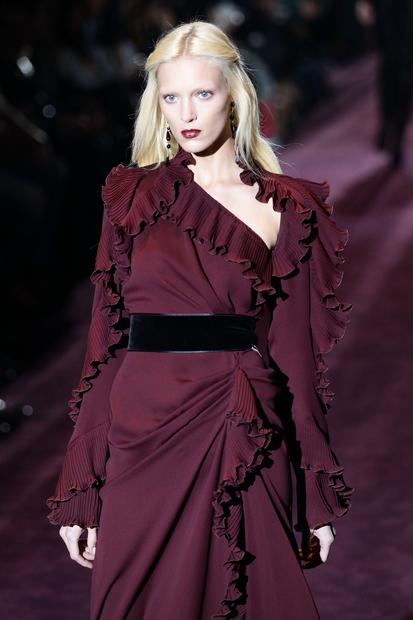 The bordeaux color trend seen on the Gucci Milan Fashion Week runway.