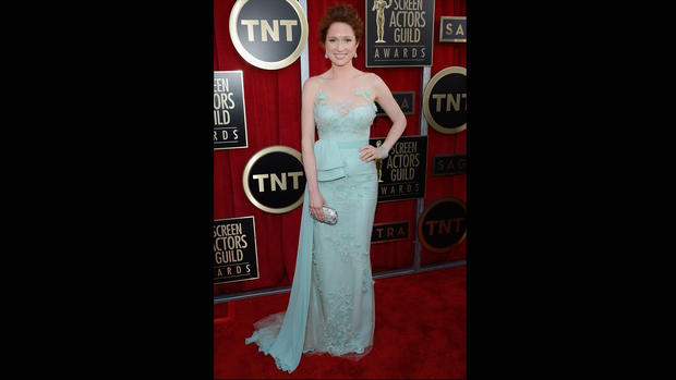 Ellie Kemper's sea-foam green Reem Acra with floral embroidery and giant half bow at the waist looked a bit too much like a bridesmaid's dress.